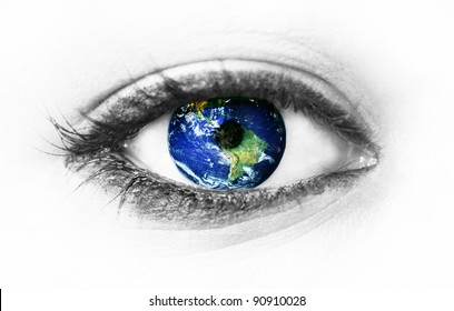 "Planet earth in eye isolated on white - ""Elements of this image furnished by NASA"""