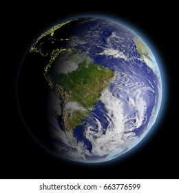 Planet Earth facing South America illuminated by morning sunlight. 3D illustration with detailed planet surface. Elements of this image furnished by NASA.