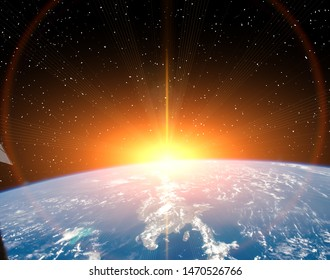 Planet earth and fascinating sunrise. The elements of this image furnished by NASA.