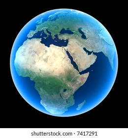 Planet Earth featuring Europe, Africa and the Middle East