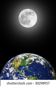 Planet earth featuring the north american continent, with a glowing full moon on the spring equinox in the distance, over black sky background.