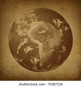 Planet Earth featuring South America including countries of  Brazil Peru Venezuela Bolivia Chile on a grunge old parchment paper texture.