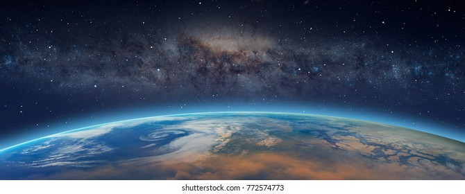 "Planet Earth in front of the Milky Way galaxy ""Elements of this image furnished by NASA """