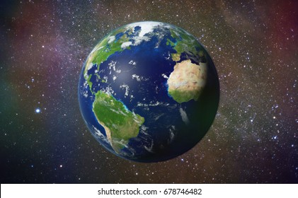 planet Earth in front of the spectacular Milky Way galaxy '3d illustration, elements of this image are furnished by NASA'