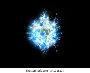 Planet Earth With Geometric Fractals - Elements of this image furnished by NASA.