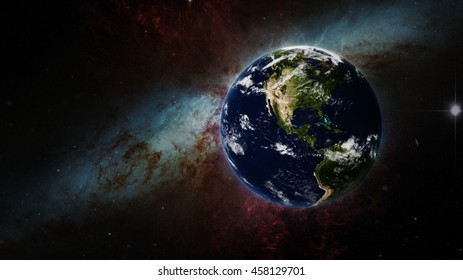 Planet Earth Global Glow - Powerful International Concept Display - North America 3D Illustration (Elements of this image furnished by NASA)