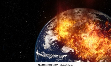 Planet Earth Global Warming Fire Boom (Elements of this image furnished by NASA)