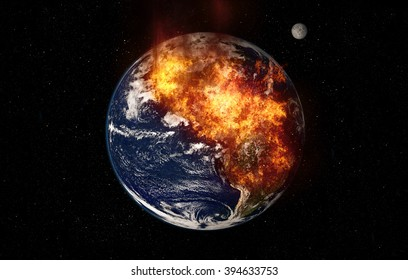 Planet Earth Global Warming - Massive Fire Chaos (Elements of this image furnished by NASA)