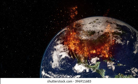 Planet Earth Global Warming - North America (Elements of this image furnished by NASA)