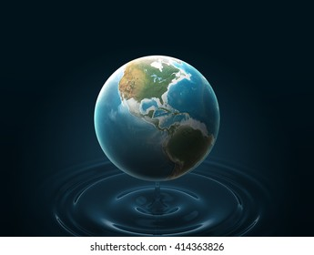 Planet earth or Globe 3D Illustration on dark blue background and water circles. Elements of this image furnished by NASA