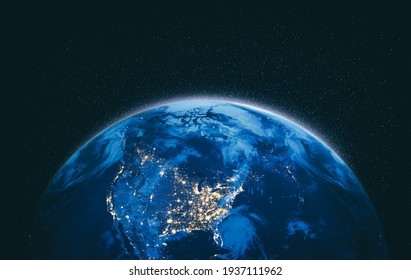 Planet earth globe view from space showing realistic earth surface and world map as in outer space point of view . Elements of this image furnished by NASA planet earth from space photos.