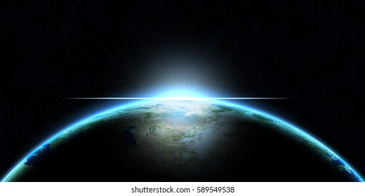 Planet Earth with glows 3D illustration (Elements of this image furnished by NASA