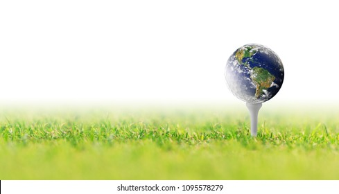 Planet Earth in a golf ball, Golf in world on white background, Original image of planet Earth is a public domain image from NASA