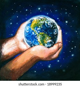 Planet Earth in the hands.Picture I have painted myself with acrylic colors.