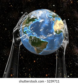 Planet Earth held in cosmic star space by invisible hands.