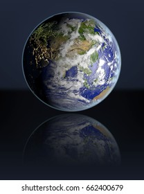 Planet Earth hovering above dark reflective surface facing Asia. 3D illustration with atmosphere and visible city lights. Elements of this image furnished by NASA.