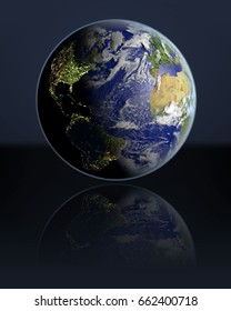Planet Earth hovering above dark reflective surface facing Northern Hemisphere. 3D illustration with atmosphere and visible city lights. Elements of this image furnished by NASA.