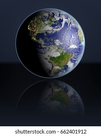 Planet Earth hovering above dark reflective surface facing Americas. 3D illustration with atmosphere and visible city lights. Elements of this image furnished by NASA.