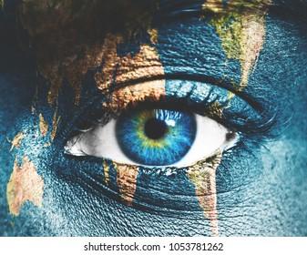 Planet Earth and human eye
