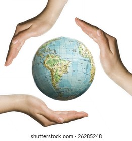 Planet earth in human hands