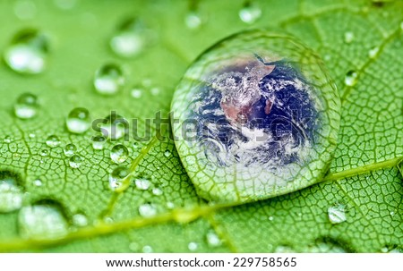 planet earth inside a raindrop closeup on a green leaf (Elements of this image furnished by NASA ) soft focus