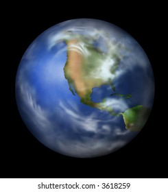 Planet Earth Isolated in Black with Clipping Path