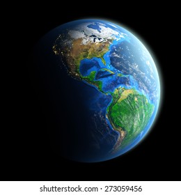 Planet Earth isolated on black. Detailed picture of the Earth, view of American continent. Elements of this image furnished by NASA