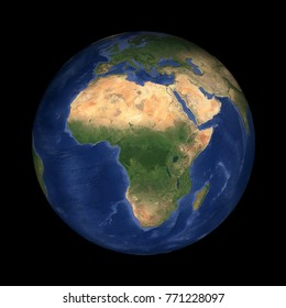 Planet Earth isolated on black centered on Africa (Elements of this image furnished by NASA)