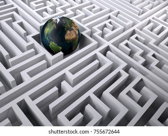 Planet earth in the labyrinth maze, 3d illustration. Elements of this image furnished by NASA