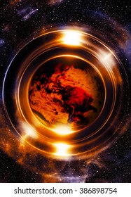 Planet earth in light circle, Cosmic Space background. Computer collage. Earth concept. Elements of this image furnished by NASA