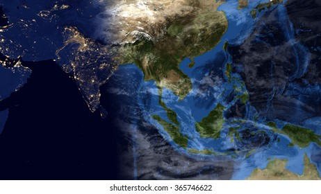 Planet Earth Map - Night/Day Morning Composition - Asia (Elements of this image furnished by NASA)