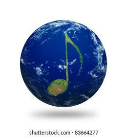 Planet Earth with music note shaped continents and clouds. Planet has clipping path.