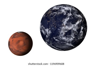 Planet Earth at night with mars of solar system isolated on white background. Elements of this image furnished by NASA.