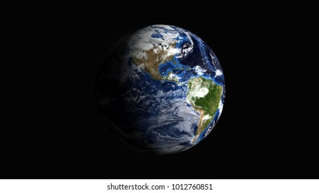 planet earth on black background 3d rendering