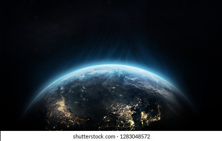 Planet Earth on black space background. Flash waves over the planet. Elements of this image furnished by NASA