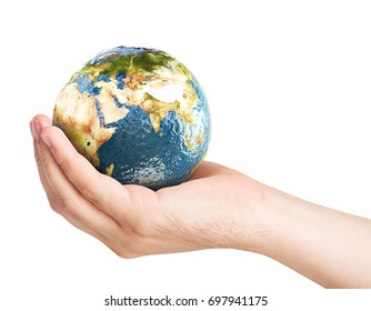 Planet earth on palm. Elements of this image furnished by NASA. 3D illustration.