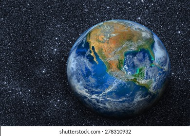 planet earth on space with graphic on star ,Elements of this image furnished by NASA