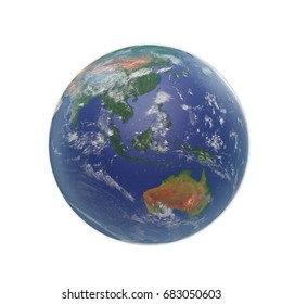 Planet Earth on white. 3D illustration, clipping path