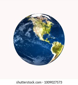 planet earth on white background 3d rendering