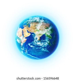 Planet earth on white background. Elements of this image furnished by NASA