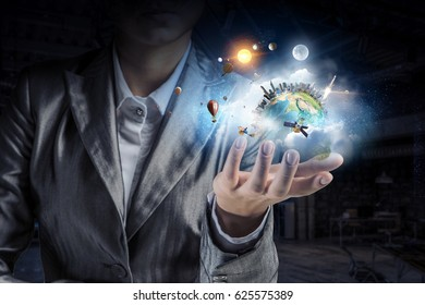 Planet Earth in our hands . Mixed media