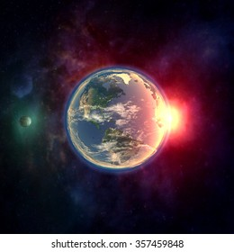 Planet earth in outer space with moon, atmosphere and sunlight