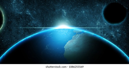 Planet Earth over deep space fantasy blue background