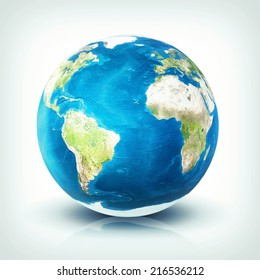 Planet earth over on white background (Elements of this image furnished by NASA)