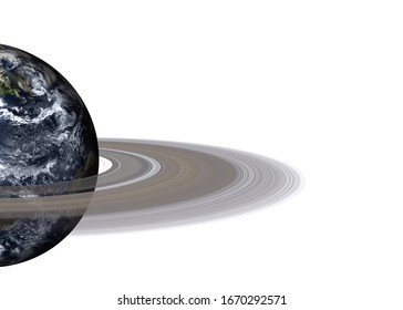 Planet Earth with ring of solar system isolated on white background. Europe and africa view. Elements of this image furnished by NASA.