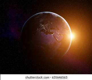 Planet Earth with rising Sun, view from space. Elements of this image furnished by NASA