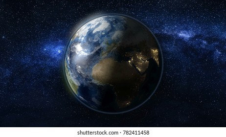 Planet Earth rotate, spinning on its axis in black and blue Universe of stars. Africa and Europe day and night city lights changes. High detail 3D Render. Elements of this image furnished by NASA