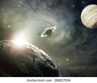planet earth, saturn and jupiter in a cosmic cloud - Elements of this image furnished by NASA