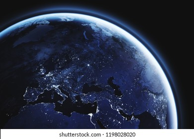 planet Earth seen from space, Europe close up, aerial view of european continent night lights with copyspace, blue tone, part of image furnished by NASA