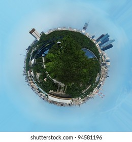 Planet earth with skyscrapers and buildings